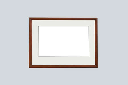 Wooden brown frame with mat. Gray isolate.