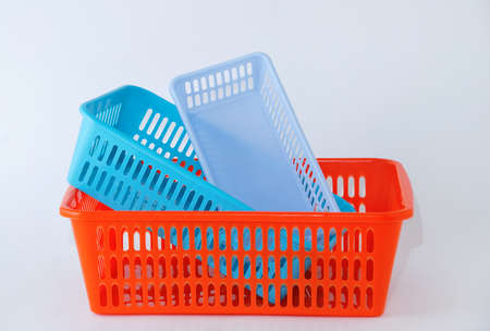 Plastic box container for household on a white background. Banque d'images - 159212146