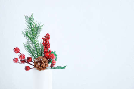 Christmas branch of a tree with ice, red berries and a pine cone in a white vase close-up. White background. Place for text.