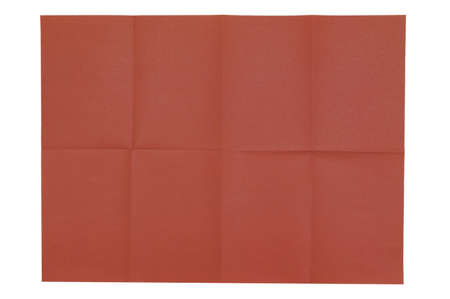 A blank sheet of red-brown paper with folds vertically and horizontally. White isolate.