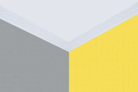 Gray and yellow wallpaper on the walls of the room. Ceiling and ceiling plinth.