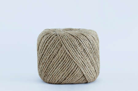 Skein of jute rope on a white background close-up. 스톡 콘텐츠