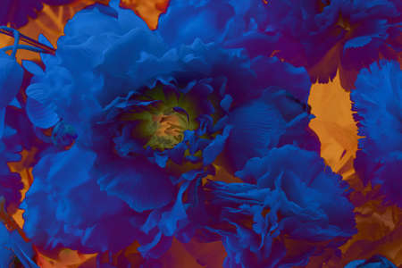 Abstract blue flower on a yellow background. Painting poster. 스톡 콘텐츠