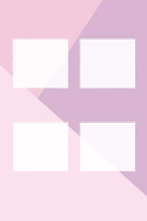 Four square cards made of white paper with a dotted frame on a three-color background. Create presentations.