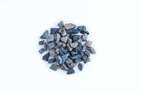 A pile of small rubble close-up on a white background. View from above. Standard-Bild
