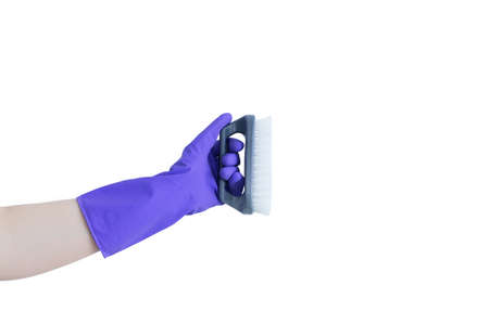 Hand of a Caucasian woman in a purple protective glove with a cleaning brush. Standard-Bild