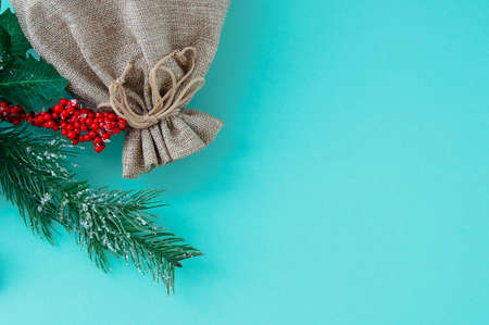 Brown canvas bag and a branch of a Christmas tree with red berries on a turquoise background. Place for your text.