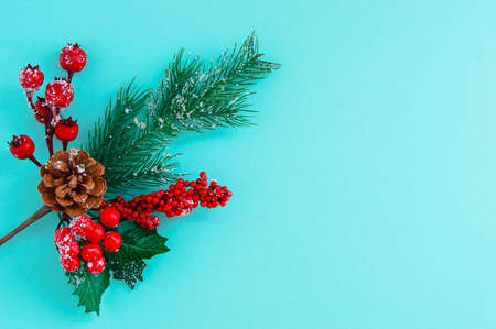 Christmas tree branch with red berries, pine cone and snowflakes. Turquoise background.