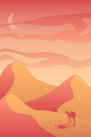 vector landscape red and orange desert with a camel