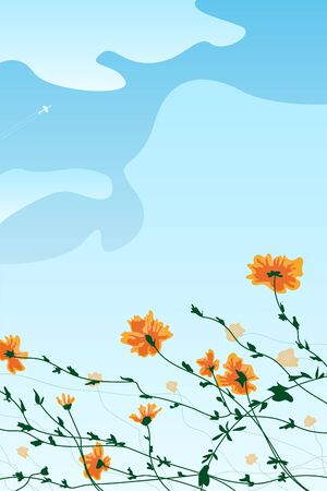 beautiful orange flowers with green stem, blue sky with white clouds and plane on a background, vector illustration