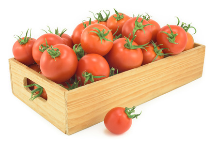 woden: Tomatoes in a woden box on a white background, Stock Photo
