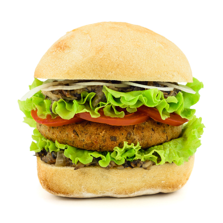 vegetarian hamburger: Burger isolated on white.