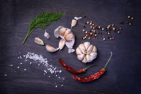Seasoning ingredients: spices, pepper mix, chili pepper, garlic, dill, salt. Top view on rustic wooden table.