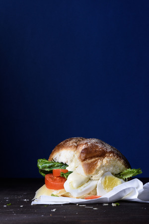 vegetarian hamburger: Delicious burger with egg, tomato, cheese, lettuce wooden counter. Copy space.