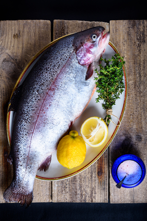 Raw salmon with pink salt, herbs  and lemon. Main course cooking ingredients. Stock Photo