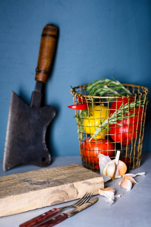 Cooking background. Ingredients, kitchen items, utensils, vegetables. Text space.