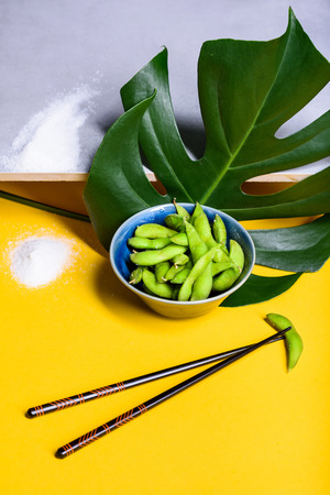 Edamame steamed beans, soybeans sprinkled with salt in the pod. Japanese snack, asian cuisine. Grey and yellow background. Reklamní fotografie