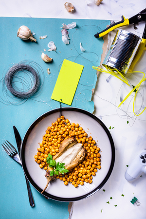 Roasted chickpeas with smoked paprika and eggplant mousse. Top view, flat lay. Reklamní fotografie