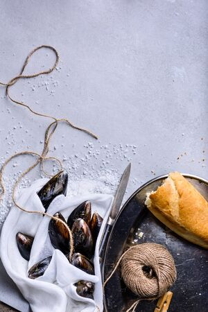 Overhead view of raw kiwi mussels with sea salt and baguette. Light background, copy space, flat lay.