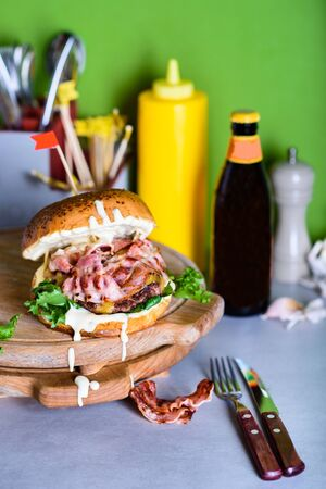 Delicious Burger with potato chips and bacon served with maionese. Copy space. Reklamní fotografie