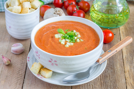 cold meal: Cold tomato soup gazpacho in a bowl with croutons