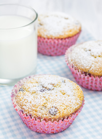 choco: Homemade muffins with choco chips and glass of milk