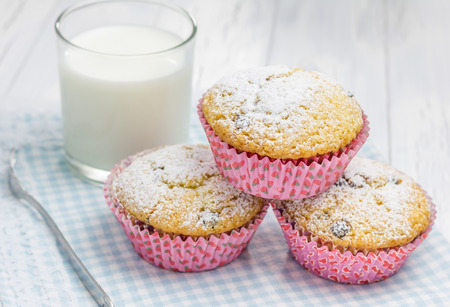 choco chips: Homemade muffins with choco chips and glass of milk
