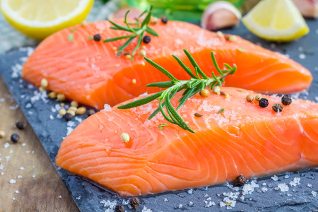 seasonings: Fresh raw salmon fillet with seasonings Stock Photo