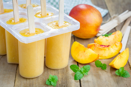 Homemade peach icecream Stock Photo