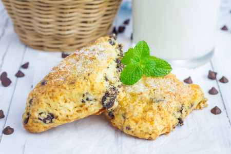 scones: Homemade sugar coated scones with chocolate chips Stock Photo
