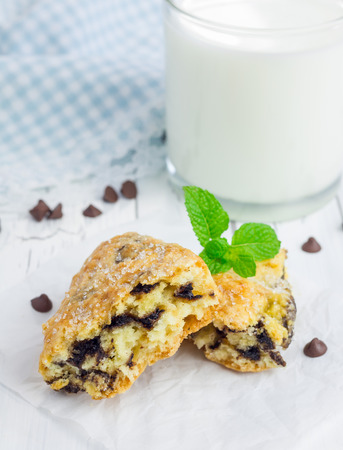 chocolate chips: Homemade sugar coated scones with chocolate chips Stock Photo