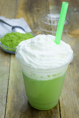 frappe: Homemade green tea frappe in plastic cup Stock Photo