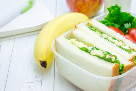 back packs: Lunch box with egg salad sandwiches, fruits, milk and stationery Stock Photo