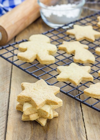 outs: Fresh baked homemade shortbread cookies on a cooling rack