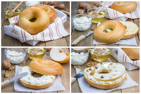 bublik: Fresh bagel with cottage cheese, pear, walnut and honey for breakfast, collage