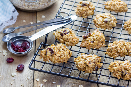 oatmeal cookie: Fresh baked homemade oatmeal cookies with cranberry