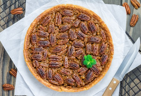 pecan pie: American classic homemade pecan pie, top view