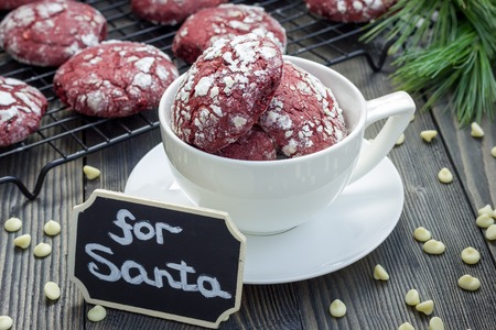 crinkle: Red velvet crinkle cookies with white chocolate chips Stock Photo