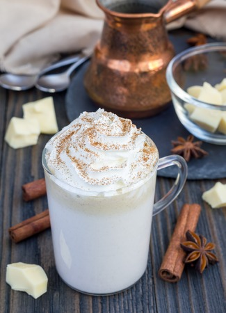 morning breakfast: Hot white chocolate, decorated with whipped cream and cinnamon.