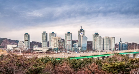 De horizonmening van de Daejeonstad, Zuid-Korea Stockfoto