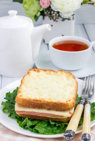 toasted sandwich: French toasted sandwich Croque monsieur with ham and cheese Stock Photo