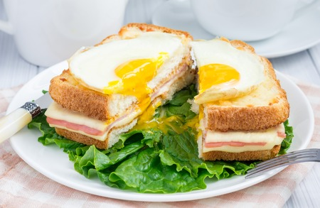 toasted sandwich: French toasted sandwich Croque madame, cut Stock Photo