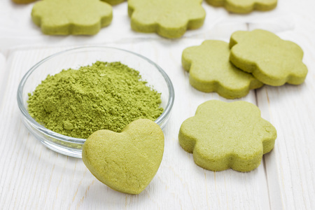 Homemade matcha green tea shortbread cookies