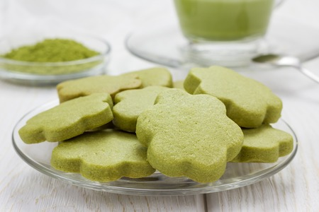 shortbread: Homemade matcha green tea shortbread cookies