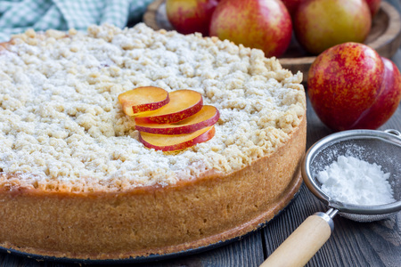 Homemade plum shortbread pie with streusel on wooden table, horizontal