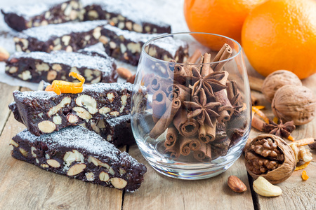 candied fruits: Panforte traditional italian christmas dessert with nuts and candied fruits, horizontal