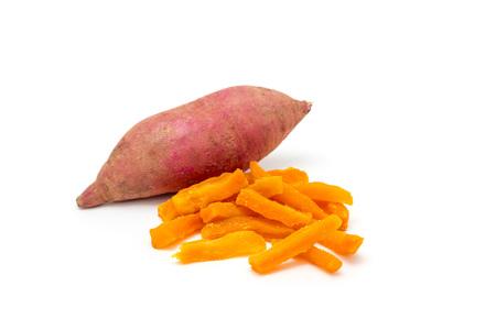 Gezonde Gebakken Zoete Aardappel Fries Geïsoleerd op Wit Stockfoto