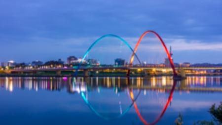 exposición: Daejeon Expo bridge at night, South Korea, blur