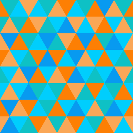 Abstract geometric triangle seamless pattern, orange and blue colors