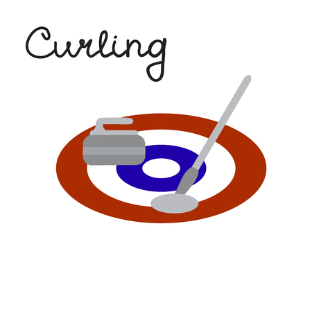 Curling game elements: broom, stone and curling sheet, vector